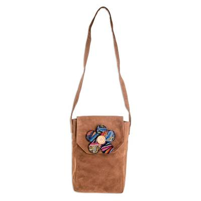 Brown Leather Shoulder Bag with Flower Applique