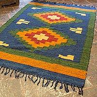 Wool area rug, 'Gold Diamond Sky' - Artisan Crafted Wool Area Rug from Central America