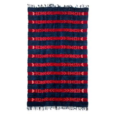 Wool rug, 'Rose Rivers' - Unique Blue and Red Wool Area Rug