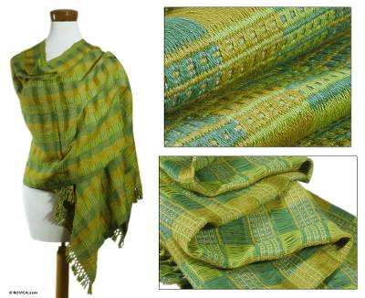 Cotton shawl, 'Nature's Windows' - Cotton shawl