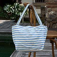 Cotton tote handbag, 'Guatemala Sky' - Central American Striped Cotton Tote Bag