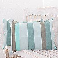 Cotton cushion covers, 'Summer Dusk' (pair) - Unique Green 100% Cotton Cushion Covers (Pair)