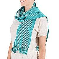 Cotton scarf, 'Cenote' - Cotton scarf
