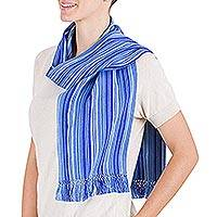 Cotton scarf, 'Panajachel Blue' - Cotton scarf