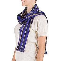 Cotton scarf, 'Purple Hills' - Cotton scarf