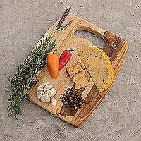 Teakwood cutting board, 'Barrel' - Wood Cutting Board Kitchen Accessory