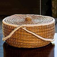 Pine needle basket, 'Chilasco Nature' - Natural Fiber Covered Basket from Guatemala