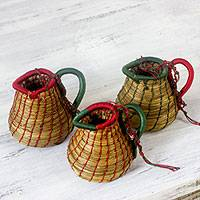 Pine needle ornaments, 'Chilasco Dreams' (set of 3) - Handcrafted Natural Fiber Basket Ornaments (Set of 3)