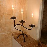 Iron candleholder, 'Earth Light' - Wrought Iron Candleholder from Guatemala