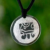 Jade pendant necklace, 'Tz'ikin, Maya Love' - Hand Crafted Nahual Pendant Jade Necklace