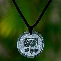 Jade pendant necklace, 'No'j, Maya Wisdom'