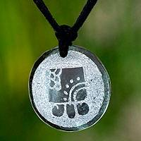 Jade pendant necklace, 'Kawoq, Maya Union'