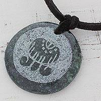 Jade pendant necklace, 'Imox, Maya Eccentric' - Handcrafted Women's Nahual Pendant Jade Necklace