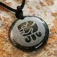 Jade pendant necklace, 'Keme, Maya Serenity'