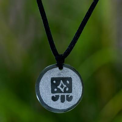 Jade pendant necklace, 'Q'anil Maya Harvest' - Jade pendant necklace