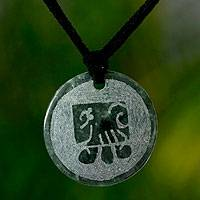 Jade pendant necklace, 'Tz'i, Maya Spiritual Law'