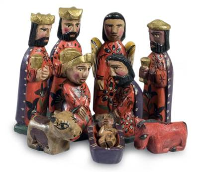 Artisan Crafted Christianity Wood Nativity Scene (Set of 10)