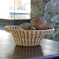 Natural fiber basket, 'Solola Forest' - Natural fiber basket