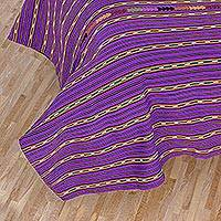 Cotton bedspread, 'Lilac Jade' (twin) - Fair Trade Cotton Embroidered Bedspread Quilt (Twin)