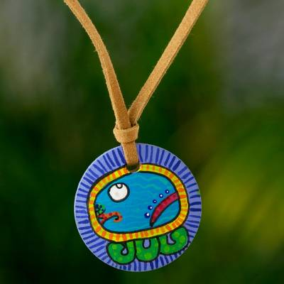 Wood pendant necklace, 'Ee Maya Calendar' - Wood pendant necklace