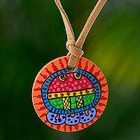 Wood pendant necklace, 'Aj Maya Calendar' - Hand Painted Wood Pendant Necklace