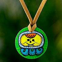 Wood pendant necklace, 'I'x Maya Calendar' - Collectible Nahual Wood Pendant Necklace