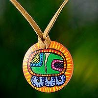 Wood pendant necklace, 'N'oj Maya Calendar'