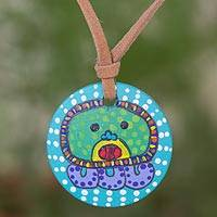 Wood pendant necklace, 'Ajpu Maya Calendar' - Hand Painted Wood Pendant Necklace