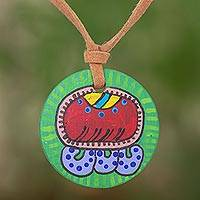 Wood pendant necklace, 'Imox Maya Calendar' - Wood pendant necklace
