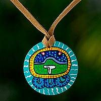 Wood pendant necklace, 'Iq Maya Calendar'