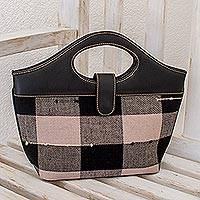 Cotton and leather handbag, 'Maya Chess' - Cotton and leather handbag