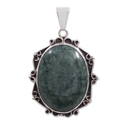 Sterling Silver Double-Sided Jade Pendant