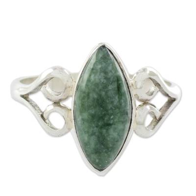 Heart Shaped Sterling Silver Jade Ring