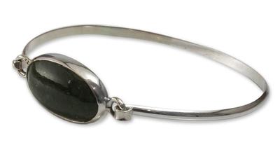 Handcrafted Sterling Silver Jade Bangle Bracelet