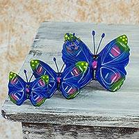 Ceramic sculptures, 'Antigua Butterflies' (set of 3) - Ceramic sculptures (Set of 3)