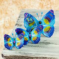 Ceramic sculptures, 'Atitlan Butterflies' (set of 3) - Hand Crafted Ceramic Butterfly Sculptures (Set of 3)