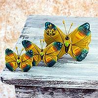 Ceramic sculptures Chimaltenango Butterflies set of 3 Guatemala
