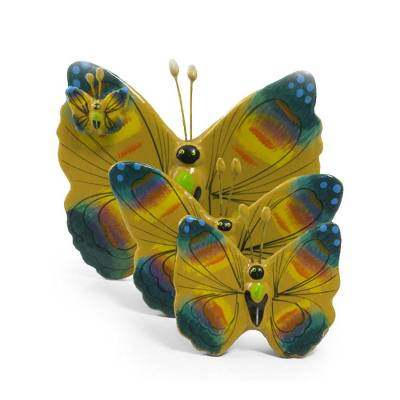 Ceramic sculptures, 'Chimaltenango Butterflies' (set of 3) - Ceramic sculptures (Set of 3)