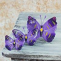 Ceramic sculptures, 'Coban Butterflies' (set of 3)