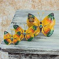 Ceramic sculptures Totonicapan Butterflies set of 3 Guatemala