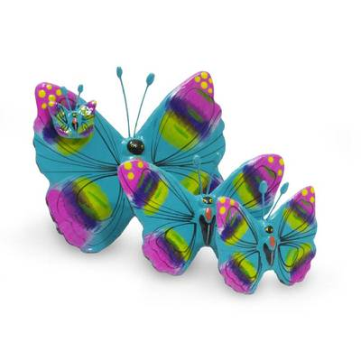 Set of 3 Fair Trade Ceramic Butterfly Sculptures