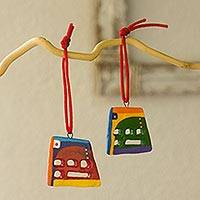 Ceramic ornaments, 'Joyful Abstractions' (set of 6) - Ceramic ornaments (Set of 6)
