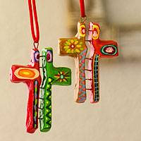 Ceramic ornaments, 'Cross Duality' (set of 6) - Ceramic ornaments (Set of 6)