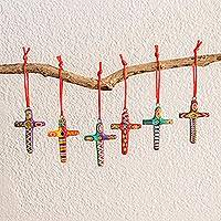 Ceramic ornaments, 'Festive Crosses' (set of 6) - Set of 6 Handcrafted Ceramic Ornaments from Guatemala