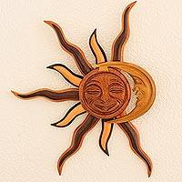 Mahogany wood wall adornment, 'Cosmic Eclipse' - Sun and Moon Wood Wall Art from Central America