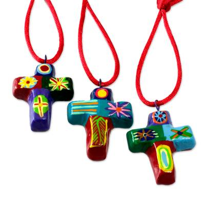 Ceramic Cross Christmas Ornaments (Set of 6)
