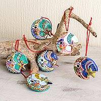 Ceramic ornaments, 'Festive Night' (set of 6)