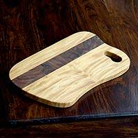 Cypress wood chopping board, 'Natural Parallel' - Cypress wood chopping board