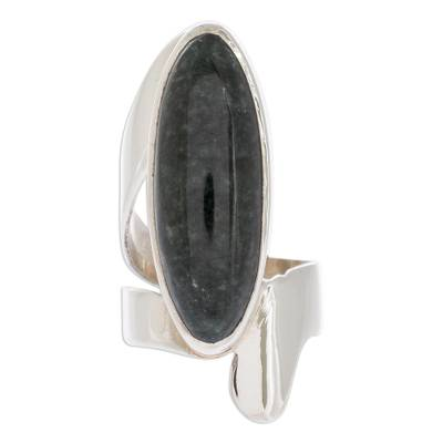 Handcrafted Good Luck Sterling Silver Jade Cocktail Ring