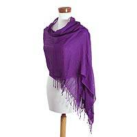 Cotton shawl, 'Dark Amethyst Paths' - Handwoven 100% Cotton Shawl from Guatemala